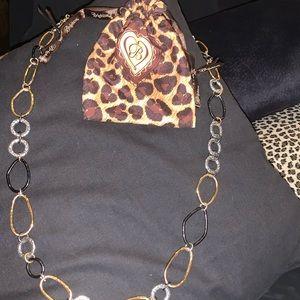 Brighton long Gold/Silver/Black necklace